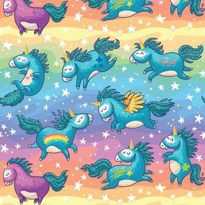 Magic unicorns_pastel rainbow