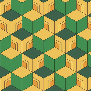 Demon-Slaying Giyu Sabito Green, Yellow, Orange Geometric Hexagon Boxes