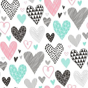 Hearts Geometrical Love Valentine Black&White Mint and Pink