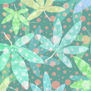Green Pastel Leaves