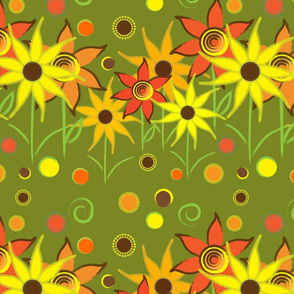 Sunny flowers (light green)