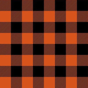 "1"" Orange and Black Buffalo Check"