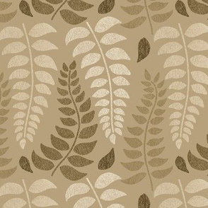 Leaf fronds in tan, beige and browns