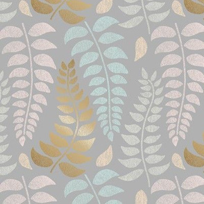 botanical pastels and gold on gray