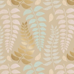 botanical pastels and gold on tan