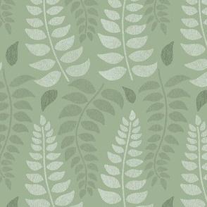 Leaf  fronds in sage greens and olive