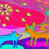 Perros con Estrellas Y Sol - Orange 27x20