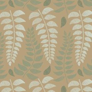 leaf fronds in sage greens on tan