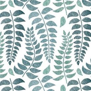 Leaf Fronds in Teals