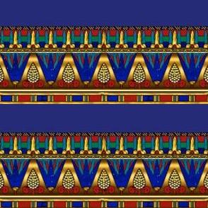 Egyptian Lotus Pattern Horizontal Stripe