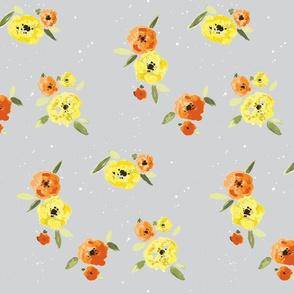 Pansy Patch Yellow and orange on grey with white splatter-ch