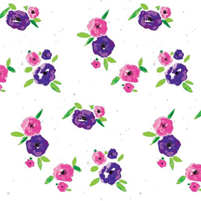 Pansy Patch violet and pink on white with grey splatter-ed-ed3