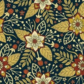 Gold, Rust, Cream & Dark Navy Blue Floral Pattern