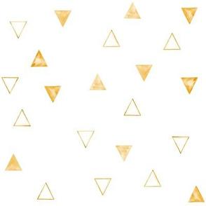 Honey Orange Watercolor Geometric Triangles // White