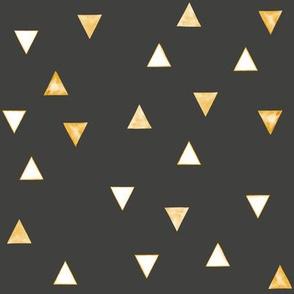 Honey Orange Watercolor Geometric Triangles // Charcoal