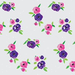 Pansy Patch Violet and pink on grey with white splatter-ed-ed3