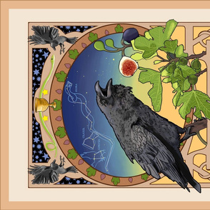 Art Nouveau Crow Tea Towel