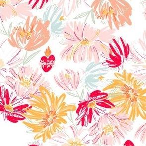 Immaculate Heart  Floral - Orange