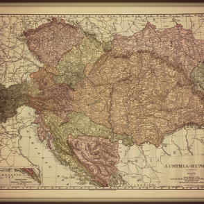 Antique map of Austria and Hungary, large