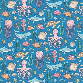 Ocean Marine Sea Life Doodle with Shark, Whale, Octopus, Yellyfish, Seaturtle on Dark Blue Navy Smaller