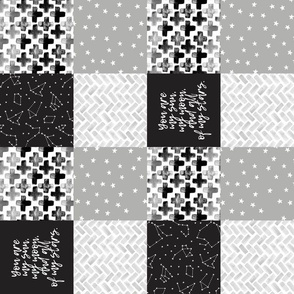 "(3"" small scale) You are my sun, my moon, and all of my stars - monochrome patchwork baby nursery  (90) C19BS"