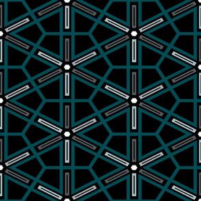 The Green the Grey and the Black: Geometric Starburst - MEDIUM