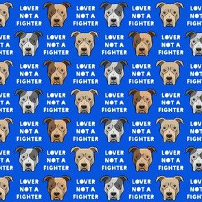 """(3/4"""" scale) lover not a fighter - pit bull on blue C19BS"""