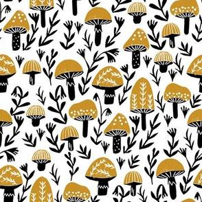 linocut mushrooms fabric // woodland fabric, nature fabric, folk fabric, andrea lauren fabric, block printed fabric, stamp fabric - ochre