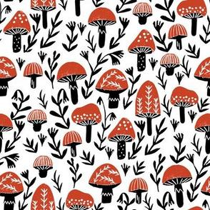 linocut mushrooms fabric // woodland fabric, nature fabric, folk fabric, andrea lauren fabric, block printed fabric, stamp fabric -  red