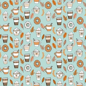 SMALL - pumpkin spice latte fabric coffee and donuts fall autumn traditions lite