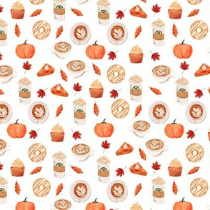 SMALL - watercolor psl - pumpkin spice latte, coffee, latte, pumpkin, fall, autumn fabric - white