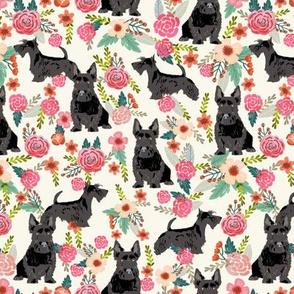 scottie dog florals fabric scottish terrier dog fabric - cream