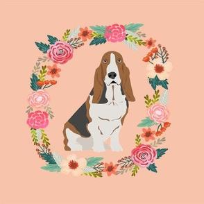 8 inch basset hound wreath florals dog fabric - peach
