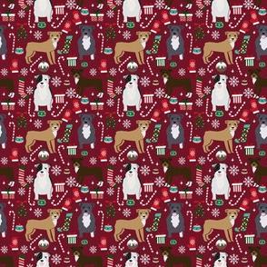SMALL - pitbull dog fabric pitbull xmas holiday christmas design - ruby