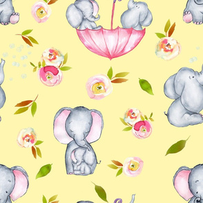 "18"" Cute elephants and flowers on yellow"