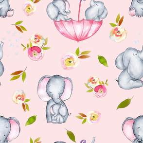 """18"""" Cute elephants and flowers on pink"""
