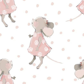 """10"""" Cute baby mouse girl and flowers, mouse fabric, mouse nursery on pink polka dots"""