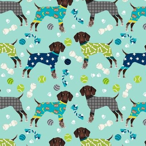 german shorthaired pointer dog pajamas fabric // dog pajamas fabric, dog pyjamas fabric, cute pointer dog, gsp fabric, gsp dog, -  mint and blue