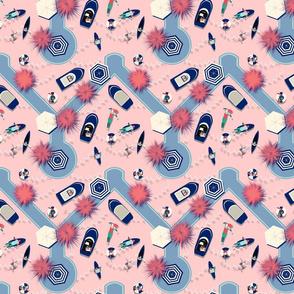 Flight over pink waters by kreativkollektiv