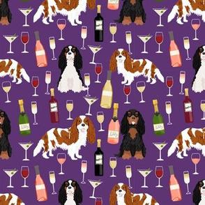 cavalier spaniel dog fabric // dog fabric, wine fabric, dogs fabric, cavalier king charles spaniel dog fabric - purple