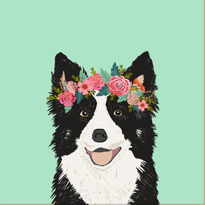 """18"""" Border Collie Dog Pillow with cut lines - dog pillow panel, dog pillow, pillow cut and sew - floral"""