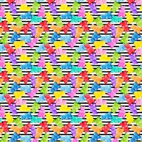 (micro scale) Gummy bears - tossed candy - stripes - LAD19BS
