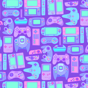 Video Game Controllers in Cool Colors Horizontal