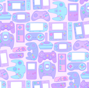 Video Game Controllers in Pastel Colors Horizontal