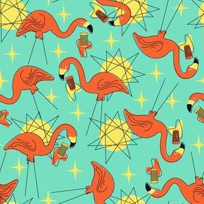Halloween Flamingos- Mint