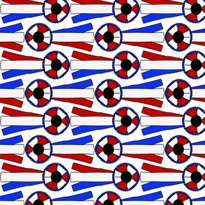 Horizontal Simple Rosettes in red white and blue