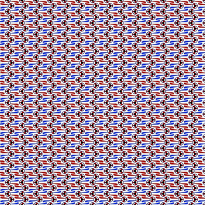 Horizontal tiny Simple Rosettes in red white and blue