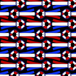 Horizontal Simple Rosettes in red white and blue on black