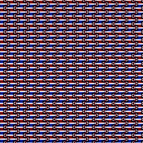 Horizontal tiny Simple Rosettes in red white and blue on black