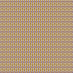 Tiny Simple Rosettes in purple and gold